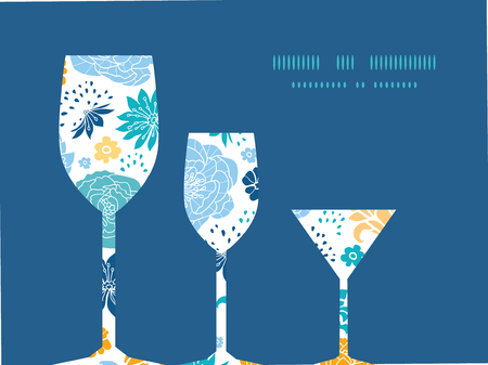 Vector blue and yellow flowersilhouettes three wine glasses silhouettes pattern frame