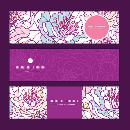 lijntekening: Vector kleurrijke lijntekeningen bloemen horizontale banners set patroon achtergrond