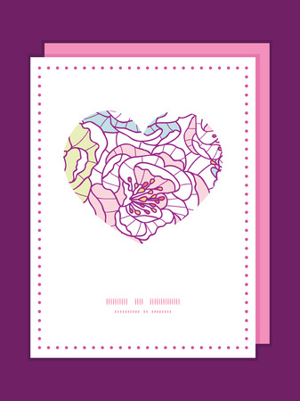Vector colorful line art flowers heart symbol frame pattern invitation greeting card template Vector