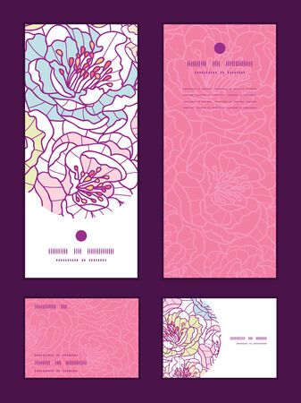rsvp: Vector colorful line art flowers vertical frame pattern invitation greeting, RSVP and thank you cards set
