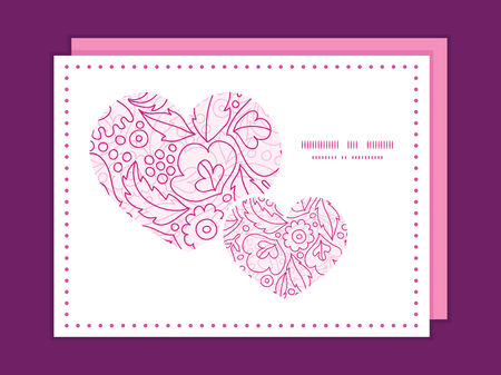 Vector pink flowers lineart heart symbol frame pattern invitation greeting card template Vector