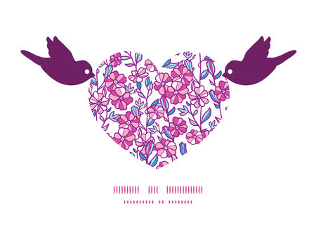 Vector vibrant field flowers birds holding heart silhouette frame pattern invitation greeting card template