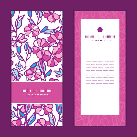 Vector vibrant field flowers vertical frame pattern invitation greeting cards set