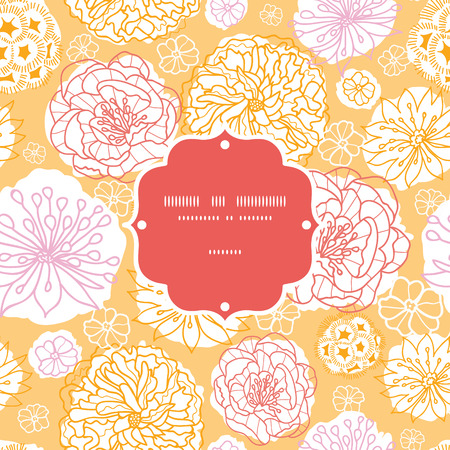 Vector warm day flowers frame seamless pattern background