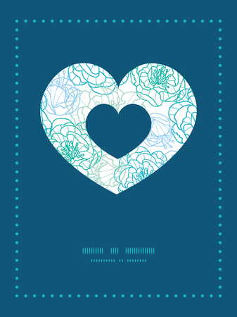 blue line art flowers heart symbol frame pattern invitation greeting card template Vector