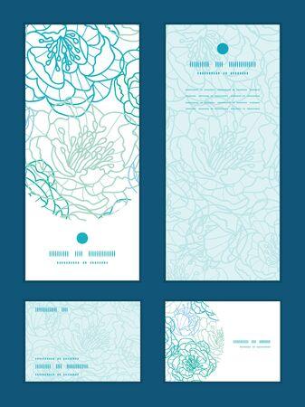 rsvp: blue line art flowers vertical frame pattern invitation greeting, RSVP and thank you cards set Illustration