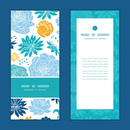 blue and yellow flowersilhouettes vertical frame pattern invitation greeting cards set