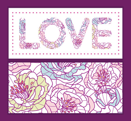 art frame: colorful line art flowers love text frame pattern invitation greeting card template Illustration