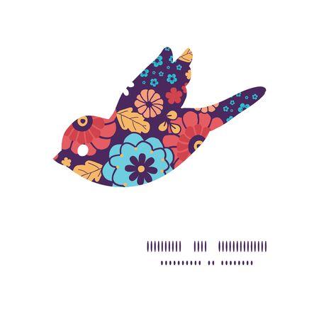 ramo de flores: colorido ramo de flores aves silueta marco modelo