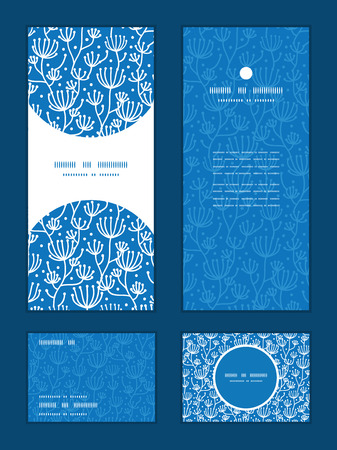 Vector blue white lineart plants vertical frame pattern invitation greeting, RSVP and thank you cards set