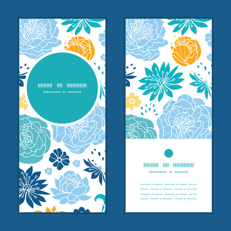 Vector blue and yellow flowersilhouettes vertical round frame pattern invitation greeting cards set Illustration