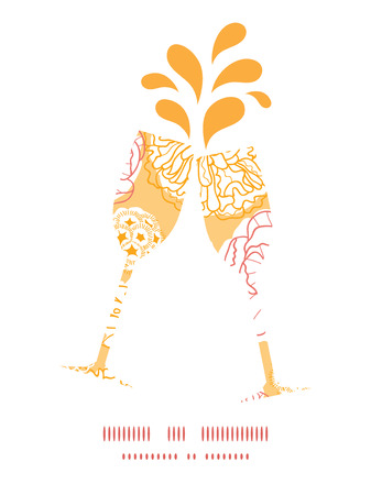 toasting wine: Vector warm day flowers toasting wine glasses silhouettes pattern frame Illustration