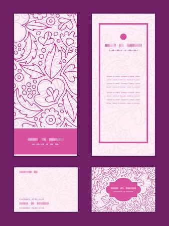 rsvp: Vector pink flowers lineart vertical frame pattern invitation greeting, RSVP and thank you cards set Illustration
