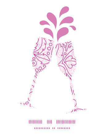 toasting wine: Vector pink flowers lineart toasting wine glasses silhouettes pattern frame Illustration