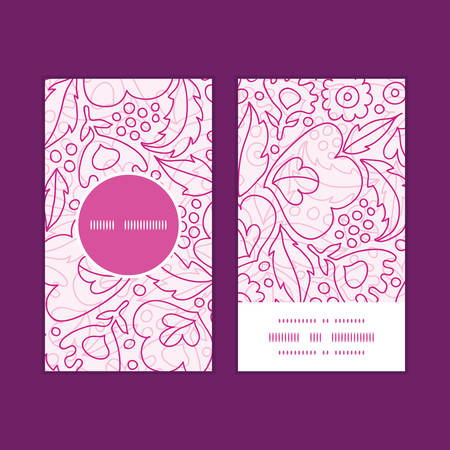 Vector pink flowers lineart vertical round frame pattern business cards set Vector