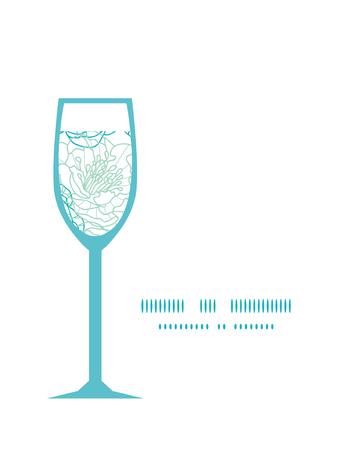 streckbilder: Vector blue line art flowers wine glass silhouette pattern frame Illustration