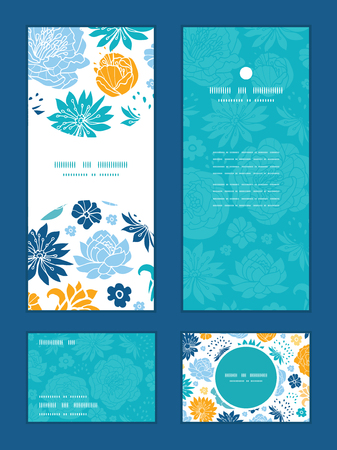 rsvp: Vector blue and yellow flowersilhouettes vertical frame pattern invitation greeting, RSVP and thank you cards set