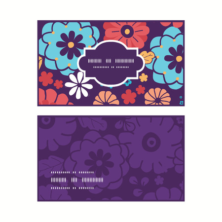 flowers horizontal: Vector colorful bouquet flowers horizontal frame pattern business cards set