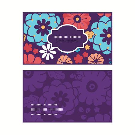 ramo de flores: Vector coloridas flores del ramo de marco horizontal tarjetas patr�n del asunto fijados