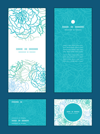 Vector blue line art flowers vertical frame pattern invitation greeting, RSVP and thank you cards set