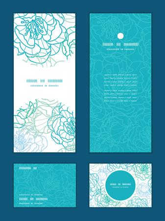 rsvp: Vector blue line art flowers vertical frame pattern invitation greeting, RSVP and thank you cards set