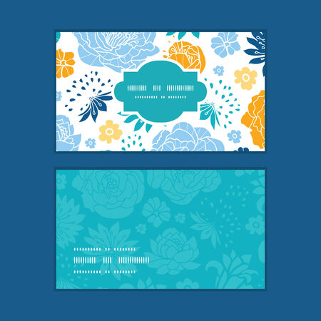 Vector blue and yellow flowersilhouettes horizontal frame pattern business cards set Иллюстрация