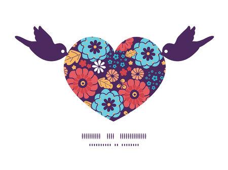 ramo de flores: Vector flores colorido ramo aves sosteniendo la silueta del coraz�n plantilla de patr�n de la tarjeta de felicitaci�n Marco de la invitaci�n