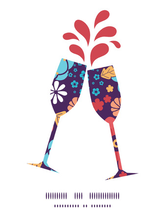toasting wine: Vector colorful bouquet flowers toasting wine glasses silhouettes pattern frame