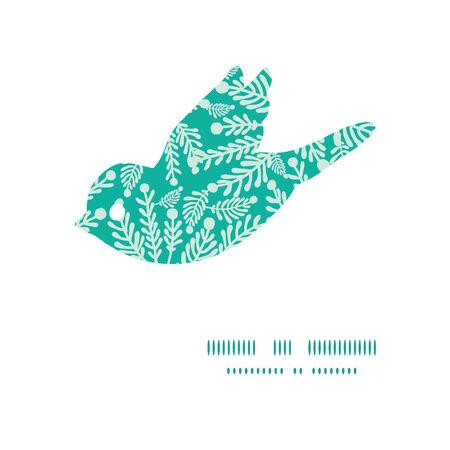 emerald: Vector emerald green plants bird silhouette pattern frame Illustration