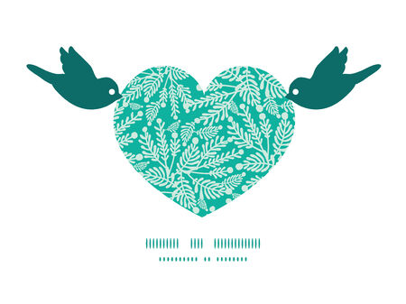 greeting: Vector emerald green plants birds holding heart silhouette frame pattern invitation greeting card template Illustration
