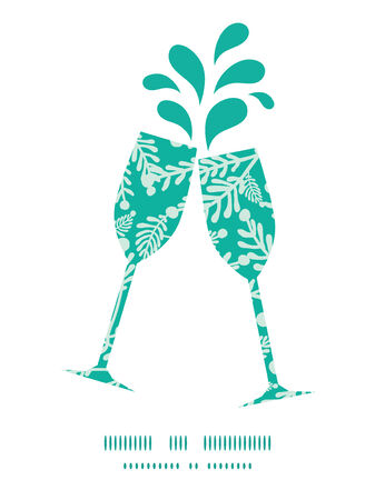 toasting wine: Vector emerald green plants toasting wine glasses silhouettes pattern frame