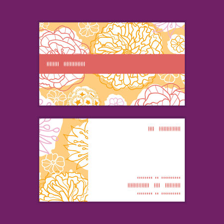flowers horizontal: Vector warm day flowers horizontal stripe frame pattern business cards set