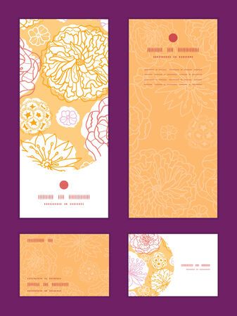 postcard: Vector warm day flowers vertical frame pattern invitation greeting, RSVP and thank you cards set