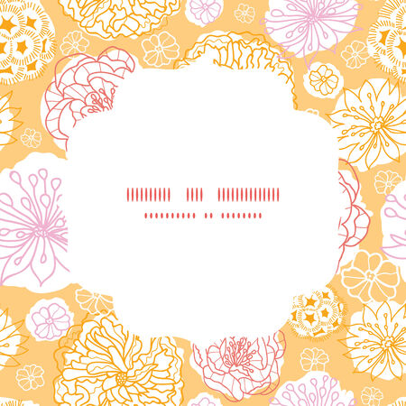 Vector warm day flowers circle frame seamless pattern background