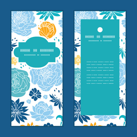 birthday party: Vector blue and yellow flowersilhouettes vertical frame pattern invitation greeting cards set Illustration