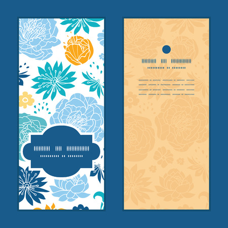 Vector blue and yellow flowersilhouettes vertical frame pattern invitation greeting cards set Illustration