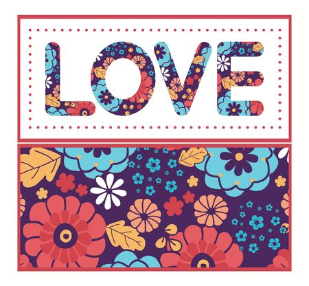 Vector colorful bouquet flowers love text frame pattern invitation greeting card template Vector