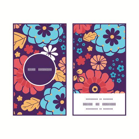 ramo de flores: Vector coloridas flores del ramo marco redondo patr�n tarjetas de negocio verticales configuran
