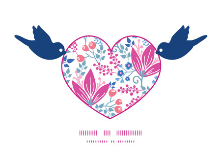 Vector pink flowers birds holding heart silhouette frame pattern invitation greeting card template Vector