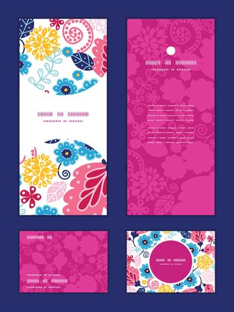 rsvp: Vector fairytale flowers vertical frame pattern invitation greeting, RSVP and thank you cards set Illustration