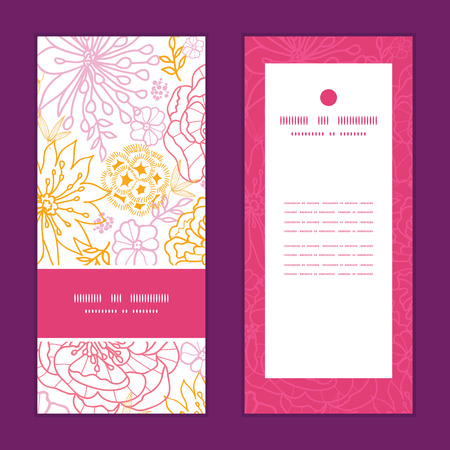 postcard: Vector flowers outlined vertical frame pattern invitation greeting cards set Illustration