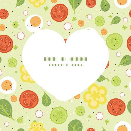 art product: Vector fresh salad heart silhouette pattern frame