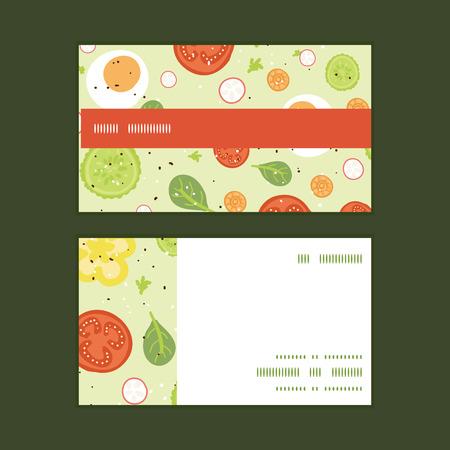 벡터 신선한 샐러드 가로 스트라이프 프레임 패턴 명함 세트 스톡 콘텐츠 - 35449482