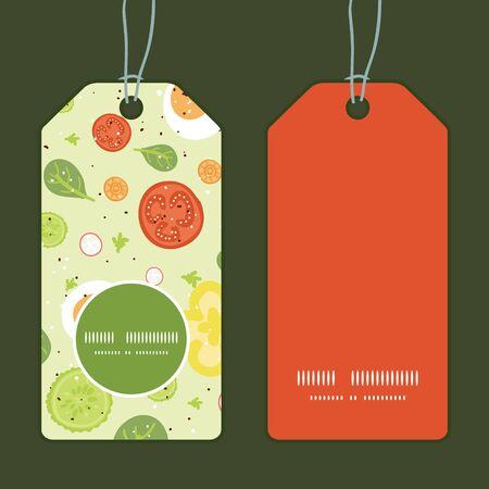 Vector fresh salad vertical round frame pattern tags set
