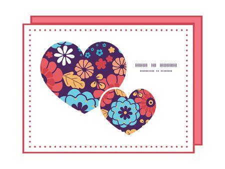 ramo de flores: Vector colorido ramo de flores plantilla de tarjeta de felicitaci�n patr�n de marco s�mbolo del coraz�n invitaci�n