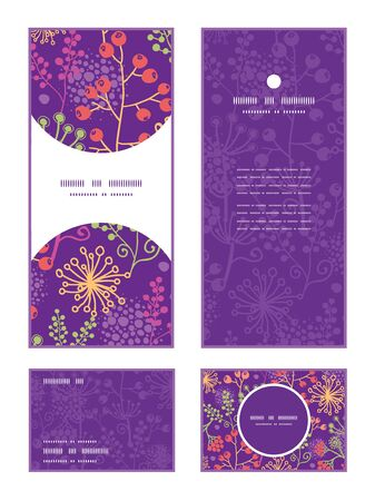 rsvp: Vector colorful garden plants vertical frame pattern invitation greeting, RSVP and thank you cards set