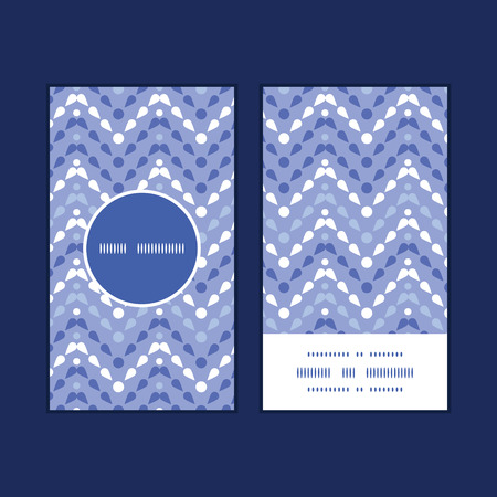 Vector purple drops chevron vertical round frame pattern business cards set Vector