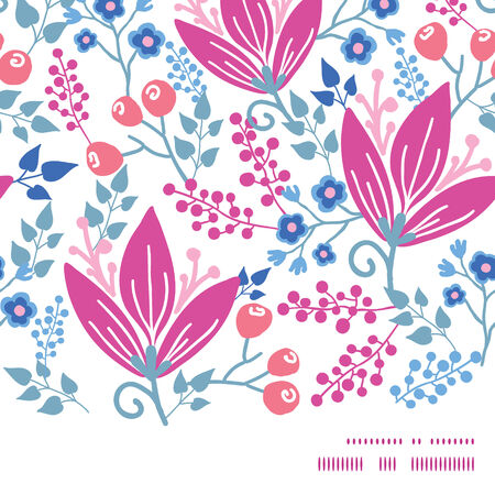 Vector pink flowers horizontal frame seamless pattern background Illustration