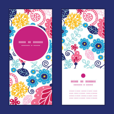 flower card: Vector fairytale flowers vertical round frame pattern invitation greeting cards set