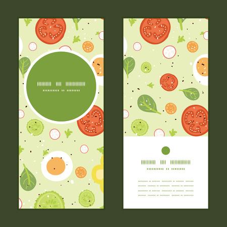 art product: Vector fresh salad vertical round frame pattern invitation greeting cards set Illustration